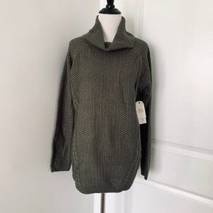 Olive Knit Cowl Neck Sweater